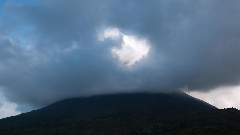 a glimpse of the volcano's peak