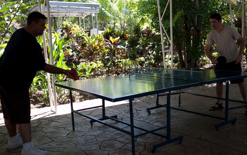 playing ping-pong at the Activity Center