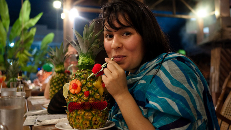 piña colada, served in a real pineapple