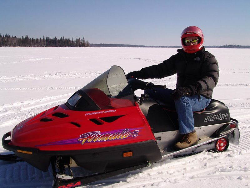 Trev on his skidoo.
