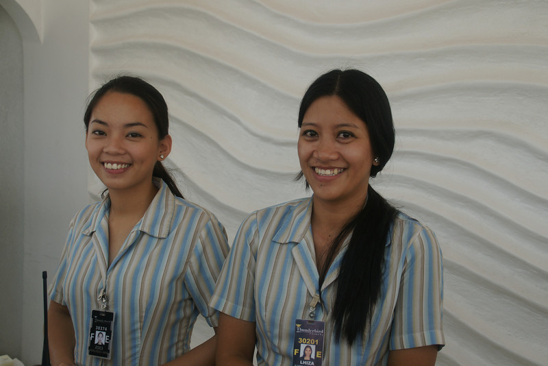Front desk Jessica and Lhiza dimples and smiles