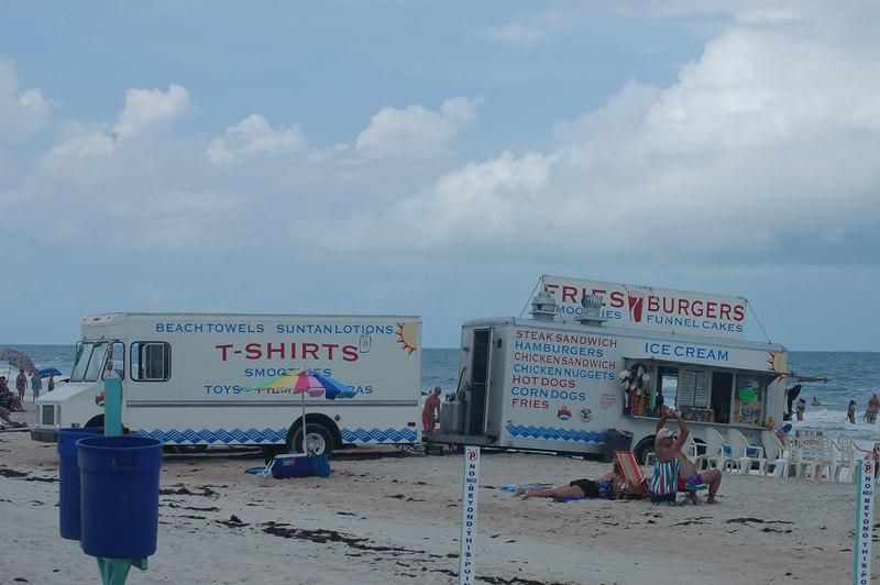 Vendors on the beach.