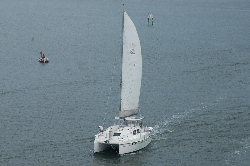 Catamaran up close.  Lucky guy.