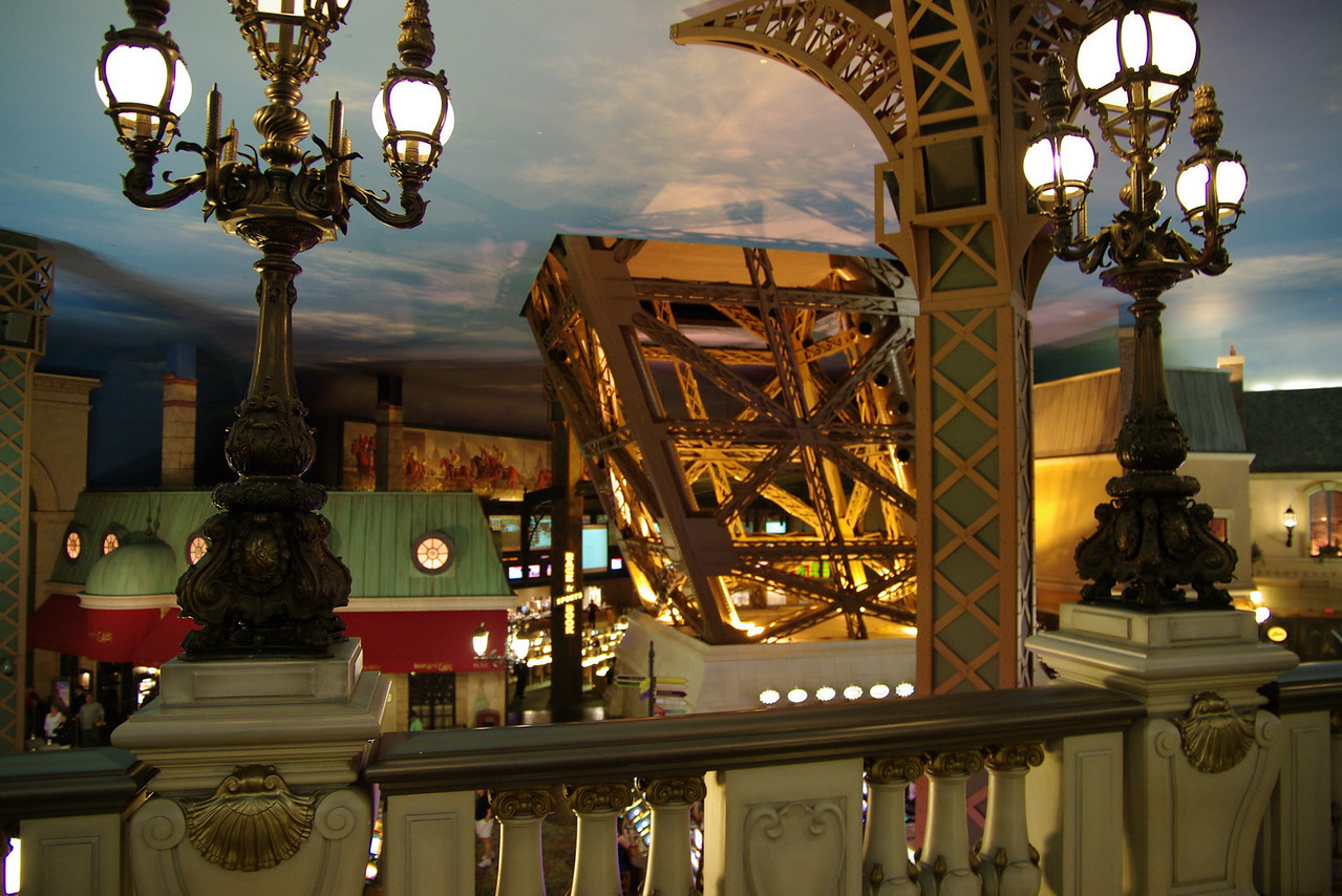 Eiffel Tower walkway to the elevators.  Panoramic shots of Vegas were shot from the top of the Eiffel Tower.