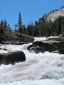 Powerful rushing water in mid-August -- evidence of the deeper-than-usual snow fall in the Sierras last winter.   [Photo by Ken]