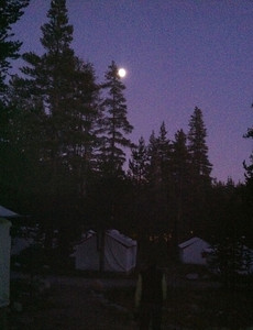 Full moon over Tuolumne Meadows camp