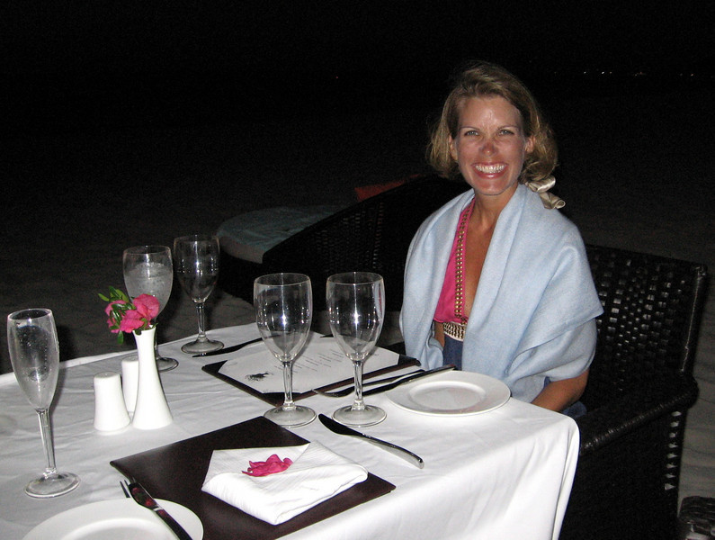 Audra looking forward to a fun dinner on the beach.