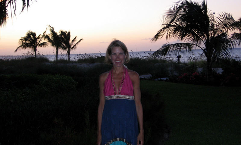 Audra on the beach getting ready for dinner.