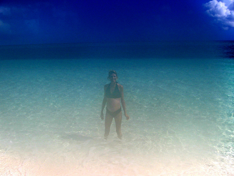 Audra enjoying the warm waters of the Caribbean.