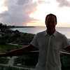 Matt enjoying the sunset view from our balcony.