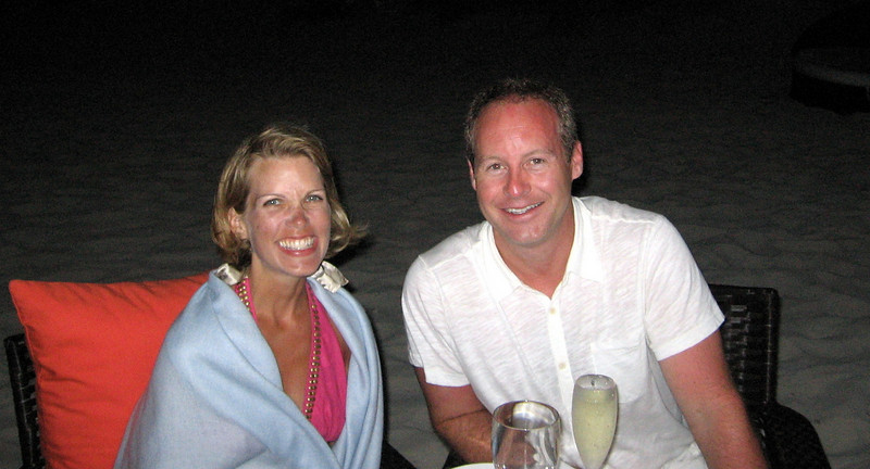 Enjoying our last TCI dinner, beachside.