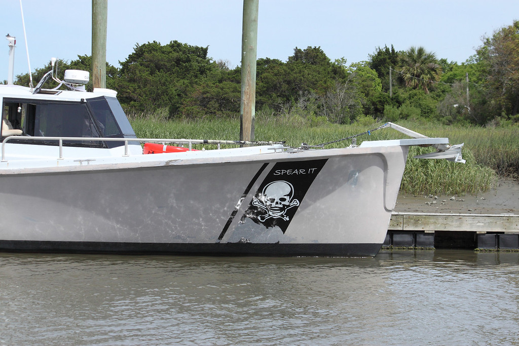 A boat with an interesting logo.