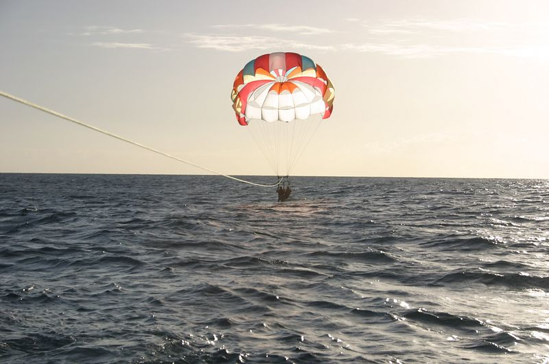 Parasailing.  Dan and Evan in the water.