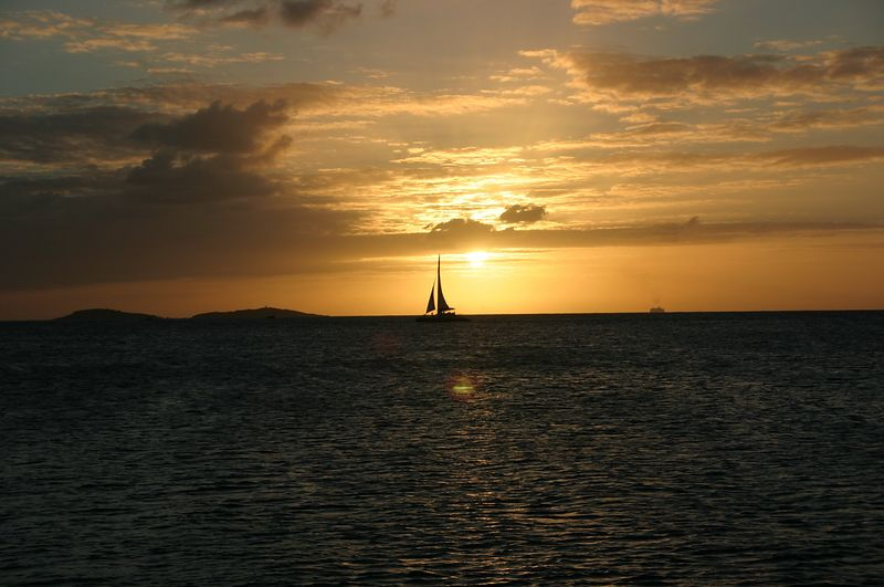 New Year's Eve, 2003.  We were on a sunset cruise on a 70' sailboat.  I wish I could remember the name of the boat.  We left from St. Thomas.  This is another sailboat, on the horizon.