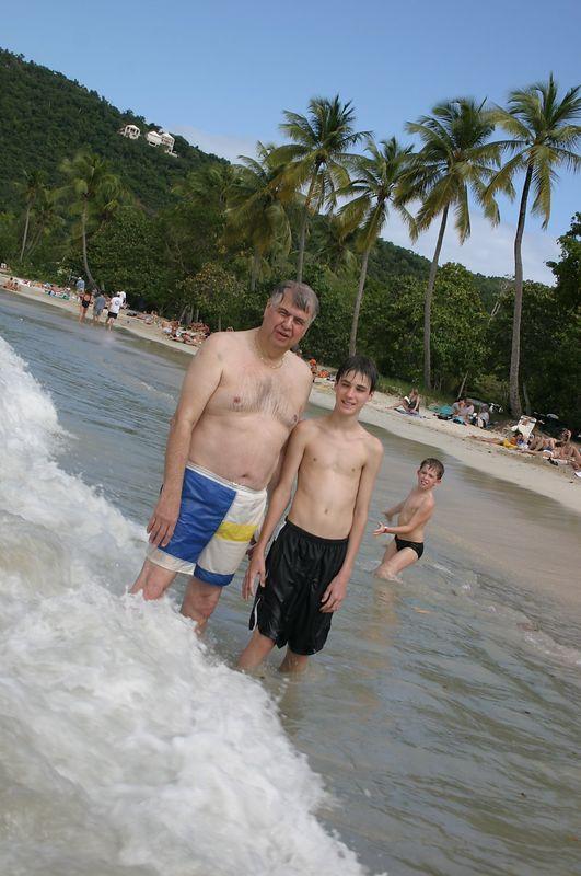 Megan's Beach.  Dan and Evan.