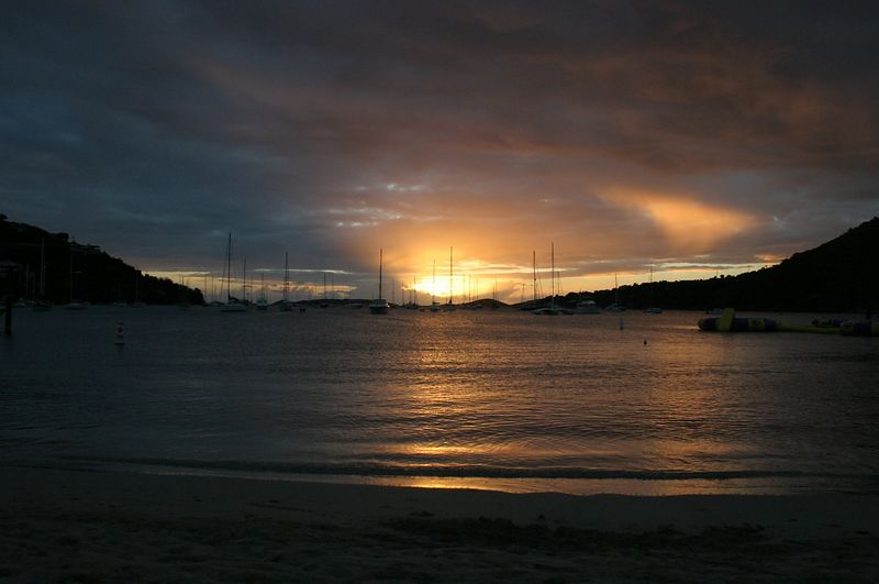 St. John.  Sunset over Great Cruz Bay.  This is just off the Westin St. John where we stayed while on the island.