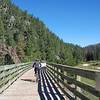 Kim crossing one of the many bridges.