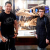 Oscar and Kim in front of the actual Tyrannosaurus fossil skull. Chicago Field Museum.