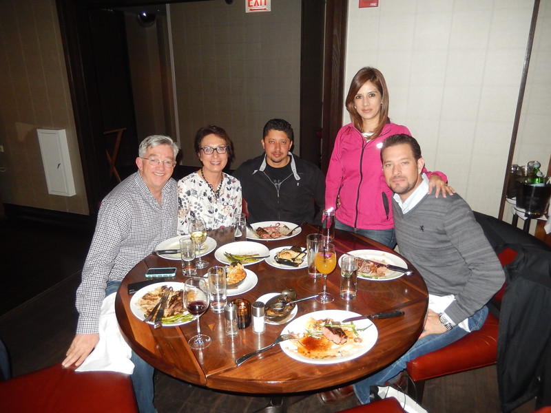 Dinner at the Michael Jordan Steakouse, Alan, Kim, Oscar, Cynthia and Roberto.