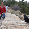 Kim at Grand Canyon with Raven.