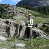 Kim climbing at Lake McDonald, Glacier National Park.