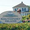 Riding our bikes onto Southport Island.