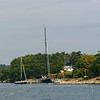 Sailing yachts anchored.along cost just west of Boothbay Harbor.