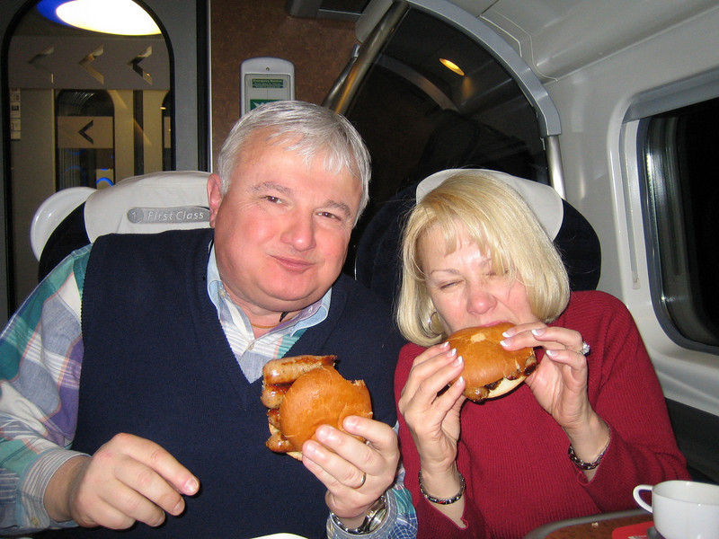 First-class Inter-city train ride - London, Euston Station to Liverpool, Lime St.. Virgin Trains. Ralph & Barbara.<br /> Take a look at those sausage sandwiches!