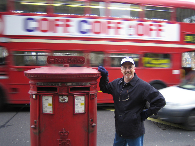 "Double pillar box - London City Centre - UK<br /> Rick standing next to the ""second class"" slot!"