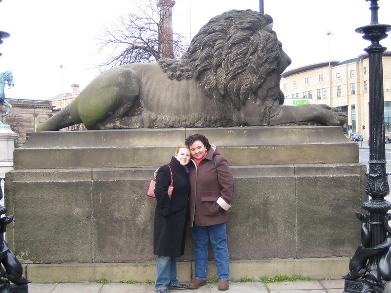 "Natalie & Yolanda next to Lion at front of St. George's Hall (Liverpool).<br /> <a href=""http://en.wikipedia.org/wiki/St_George"">http://en.wikipedia.org/wiki/St_George</a>'s_Hall,_Liverpool"