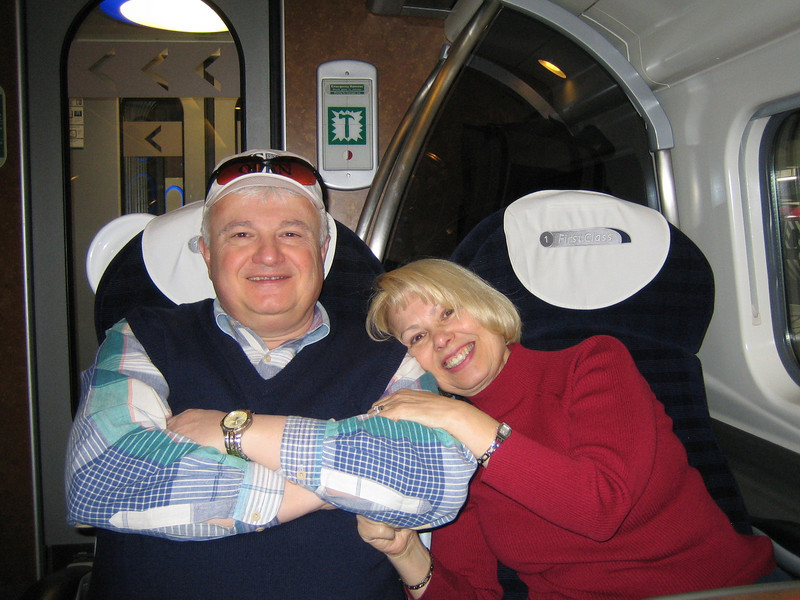 First-class Inter-city train ride - London, Euston Station to Liverpool, Lime St.. Virgin Trains. Ralph & Barbara.