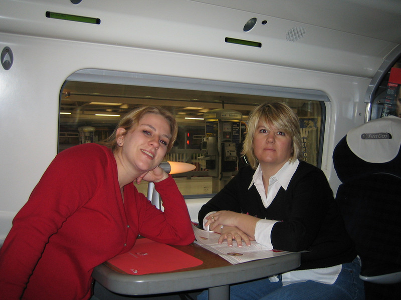 First-class Inter-city train ride - London, Euston Station to Liverpool, Lime St.. Virgin Trains. Natalie & Sherri.
