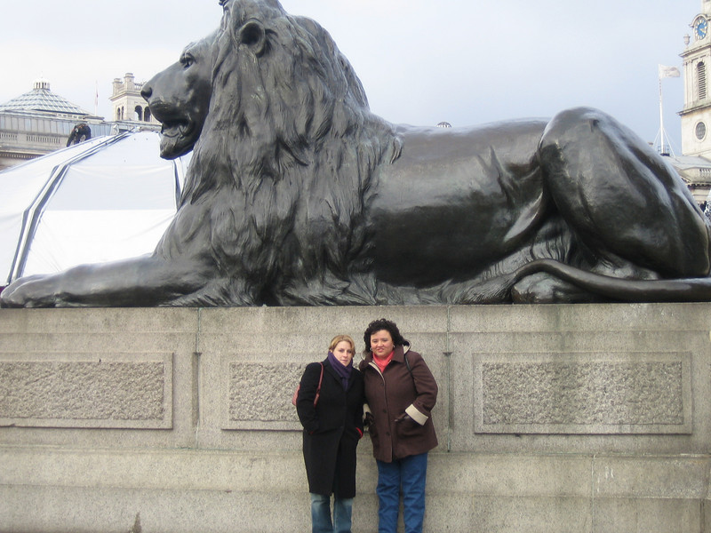 Trafalgar Square - Base of Nelson's Column<br /> London - UK<br /> Natalie & Yolanda