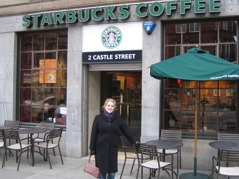 Natalie at Starbucks on Castle Street (Liverpool).