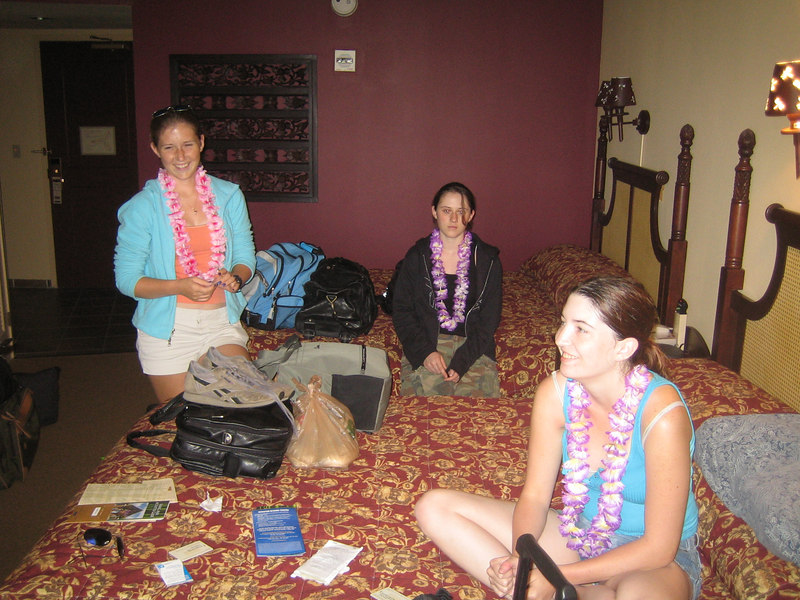 Dezi, Niki and Kim unpacking and relaxing in one of the rooms at the Royal Pacific Hotel.