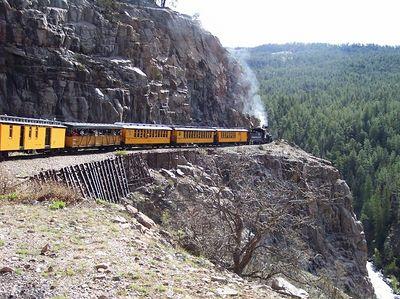 Durango and Silverton Narrow Gauge Railway, CO.  Notice the Animas River way below (bottom right).