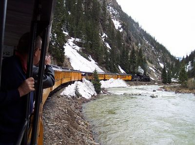 There was evidence of several avalanches.  Some had come down one mountain, across the river, over the tracks, and back up the opposite mountain.