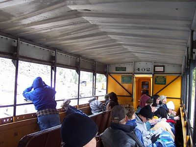 This is one of the open air cars.  Notice how everyone is bundled up against the cold.  It was only around 40 degrees.