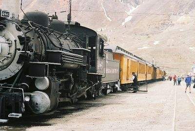 Getting ready to board in Silverton.  We had problems with this engine on the way down and they had to bring us another one.
