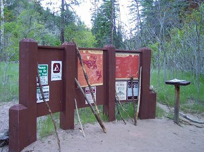 The trailhead for the West Fork Trail in Oak Creek Canyon near Sedona.