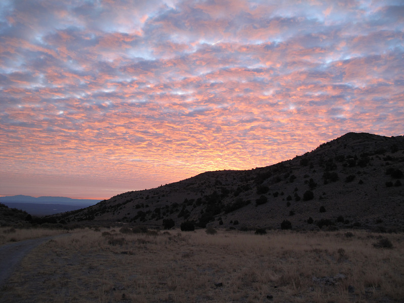 sunrise at Notch Peak trailhead campsite