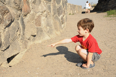 Travis was showing us where he thought an animal had dug a hole through the wall.