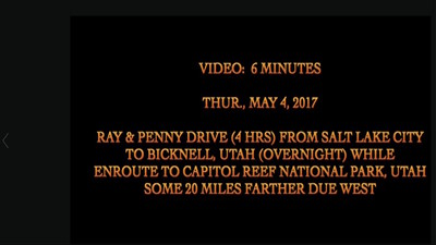 Video:  6 mins. ~~  Salt Lake City and enroute Bicknell, Utah (overnight) -- some 20 miles from Capitol Reef Nat'l Park, Utah