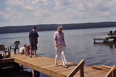Mom and Jackson on the dock