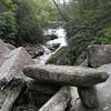 Balanced rock below the falls.