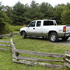Kenny's truck parked at the trailhead for Upper Creek Falls<br /> Pisgah Forest, NC