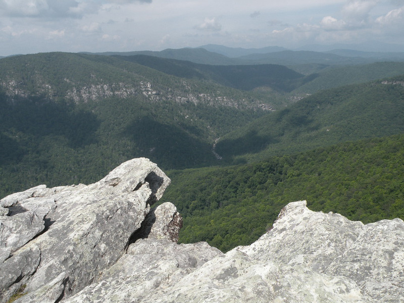 A view from Hawksbill down at the river far below in the Linville Gorge