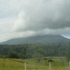 Picture of the Arenal volcano covered by clouds.