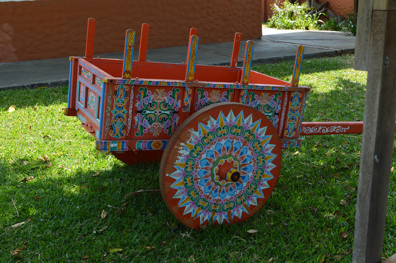 The oxcart is hand painted.