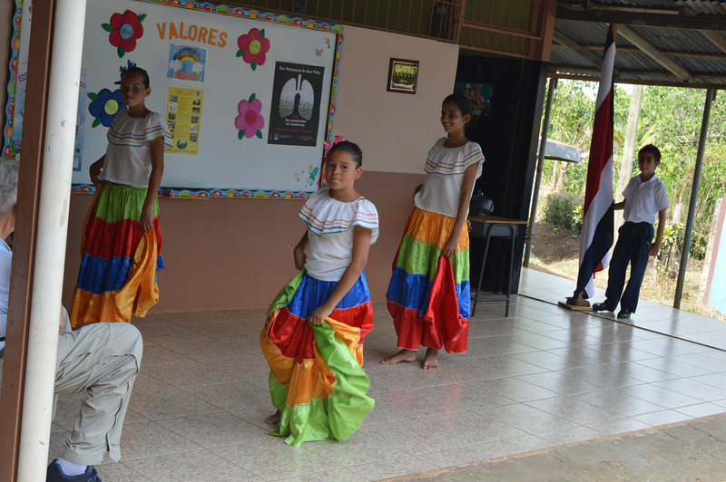 Several girls at the school performed a few dances for us.
